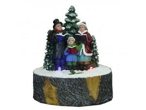 Φωτιζόμενο Χριστουγεννιάτικο διακοσμητικό χορωδία σε πέτρα 9 x 10 εκ.