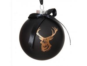 Χριστουγεννιάτικη Μπάλα μαύρη Γυάλινη 8 εκ