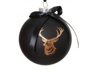 Χριστουγεννιάτικη Μπάλα μαύρη Γυάλινη 10 εκ