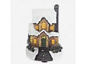Φωτιζόμενο Χριστουγεννιάτικο διακοσμητικό σπιτάκι 9 εκ.