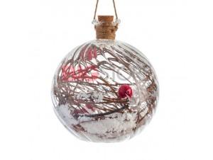 Χριστουγεννιάτικη φωτιζόμενη μπάλα ρόδι διακόσμησης 13 εκ.