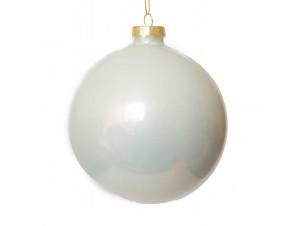 Γυάλινη άσπρη Χριστουγεννιάτικη μπάλα 10 εκ.