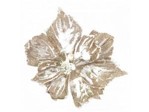 Χριστουγεννιάτικο χιονισμένο διακοσμητικό λουλούδι 25 εκ.