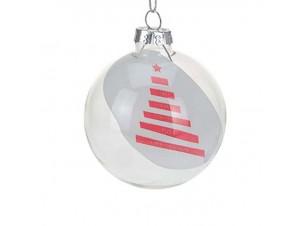 Χριστουγεννιάτικη διάφανη μπάλα διακόσμησης 7 εκ.