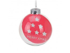 Χριστουγεννιάτικη διάφανη μπάλα διακόσμησης 9 εκ.