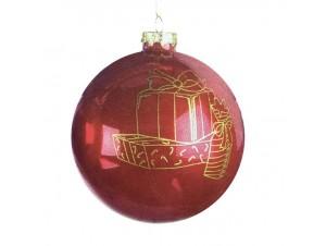 Χριστουγεννιάτικη κόκκινη γυάλινη μπάλα 10 εκ.