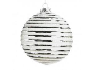 Χριστουγεννιάτικη άσπρη γυάλινη μπάλα 10 εκ.