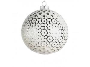 Χριστουγεννιάτικη άσπρη γυάλινη μπάλα 8 εκ.