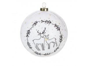 Χριστουγεννιάτικη άσπρη μπάλα με σχέδια 7,5 εκ.