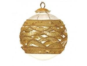 Χρυσή Χριστουγεννιάτικη Γυάλινη Μπάλα