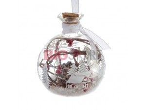 Χριστουγεννιάτικη φωτιζόμενη μπάλα ρόδι διακόσμησης 10 εκ.