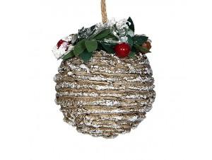 Χριστουγεννιάτικη χιονισμένη μπάλα διακόσμησης 8 εκ.