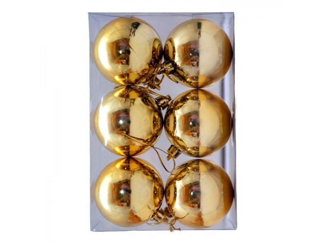 SET 6 τεμ. Χριστουγεννιάτικες χρυσές μπάλες 8 εκ.