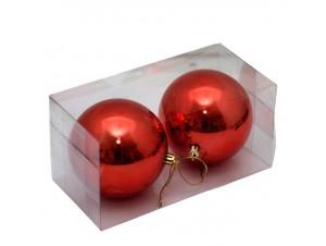 Σετ 2 τμχ. Κόκκινη Χριστουγεννιάτικη Μπάλα