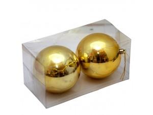 Σετ 2 τμχ. χρυσές Χριστουγεννιάτικες μπάλες