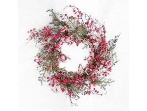 Χριστουγεννιάτικο στεφάνι παγωμένο με berries