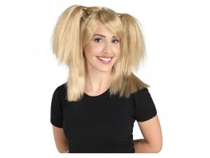 Αποκριάτικη περούκα κοτσίδια ξανθιά