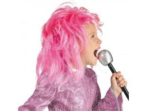 Αποκριάτικη περούκα παιδική diva glitter ροζ