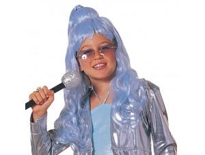Αποκριάτικη περούκα παιδική glamour γαλάζια