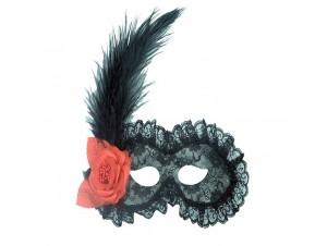 Αποκριάτικη μάσκα ματιών με δαντέλα και φτερό μαύρη