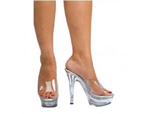 Αποκριάτικο παπούτσι διάφανο ντίσκο ψηλοτάκουνο