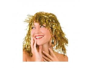 Αποκριάτικη Χρυσή Περούκα Με Τίνσελ