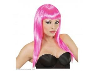 Αποκριάτικη περούκα ροζ μακριά