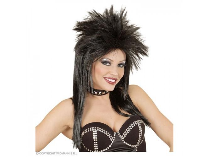 Αποκριάτικη περούκα μαύρη ροκ σταρ