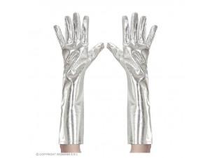 Αποκριάτικα ασημί μεταλλικά γάντια