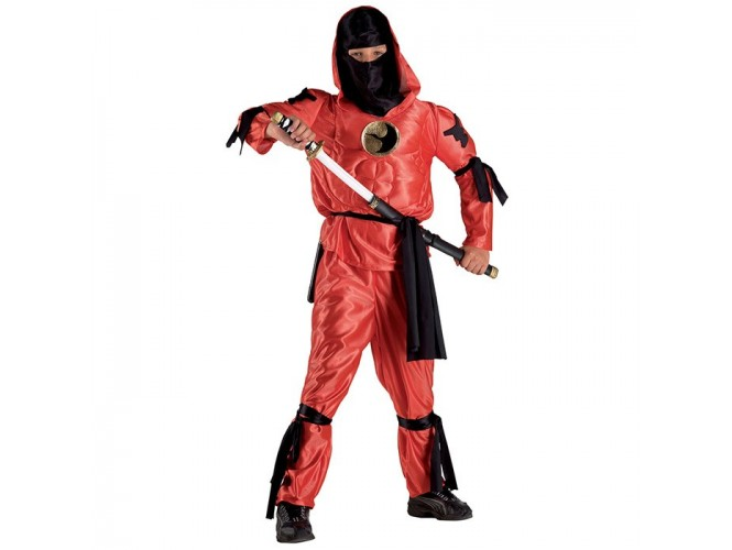 Αποκριάτικη στολή Κόκκινος Νίντζα με θώρακα