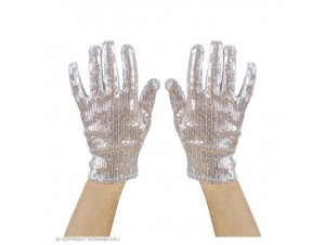 Αποκριάτικα ασημί γάντια με πούλιες