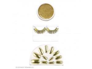 Αποκριάτικο χρυσό Set μακιγιάζ και νύχια