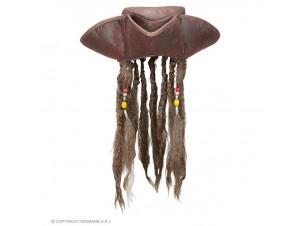 Αποκριάτικο καπέλο πειρατή με μαλλιά
