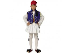 Παιδική Παραδοσιακή Στολή Τσολιάς Μπλε Παρέλασης 12-14