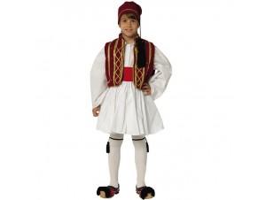Παιδική Παραδοσιακή Στολή Τσολιάς Γκρενά-Χρυσό 8-16