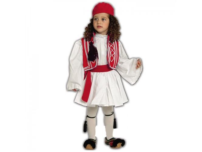 Παιδική Παραδοσιακή Στολή Τσολιαδάκι Κόκκινο 2-3
