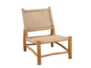 Καρέκλα Teak με πλέξη από συνθετικό Rattan