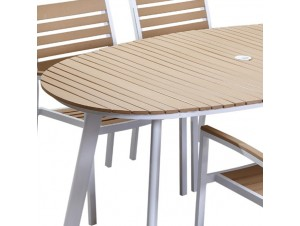 VICENZA OVAL Τραπέζι αλουμινίου-polywood Καφέ