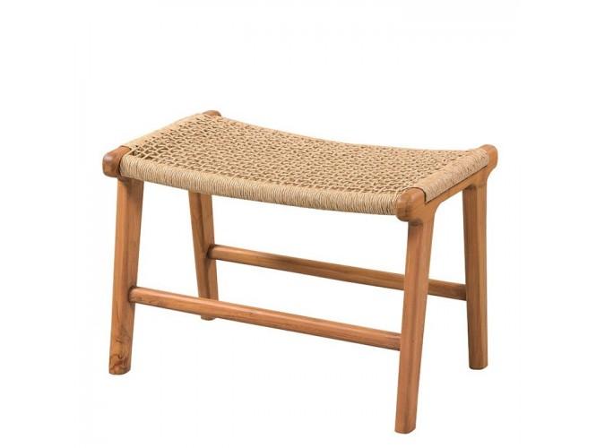 Σκαμπό από ξύλο Teak και συνθετικό rattan
