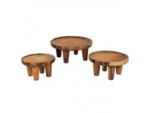 Σετ 3 τεμάχια Coffee tables από ξύλο Suar