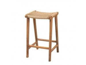 Σκαμπό bar από ξύλο Teak και συνθετικό rattan