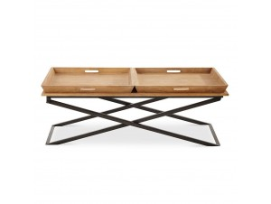 Double Serv Coffee Table White Washed μαύρο