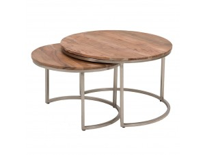 Terra Coffee Table Set 2Τεμ Καρυδί Ασημί D75