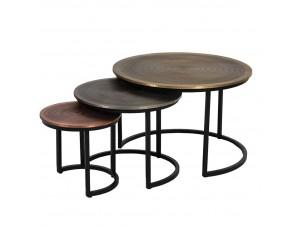 Coin Coffee Table Set 3Τεμ Copper Titanium Brass D75-56