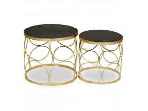 Midas Coffee Table Set 2Τεμ Μαύρο Χρυσό D50