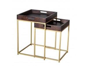 Cubic Side Table Set 2Τεμ Καφε χρυσό