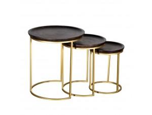 Iona Side Table Set 3Τεμ Καφέ Χρυσό D45