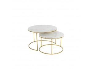 Tesoro Coffee Table Set 2Τεμ Λευκό Χρυσό D75