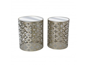 Oro Side Table Set 2Τεμ Champagne Ματ D44