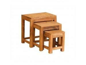 Minimal 45-33-21 Coffee Table Set 3Τεμ καρυδί